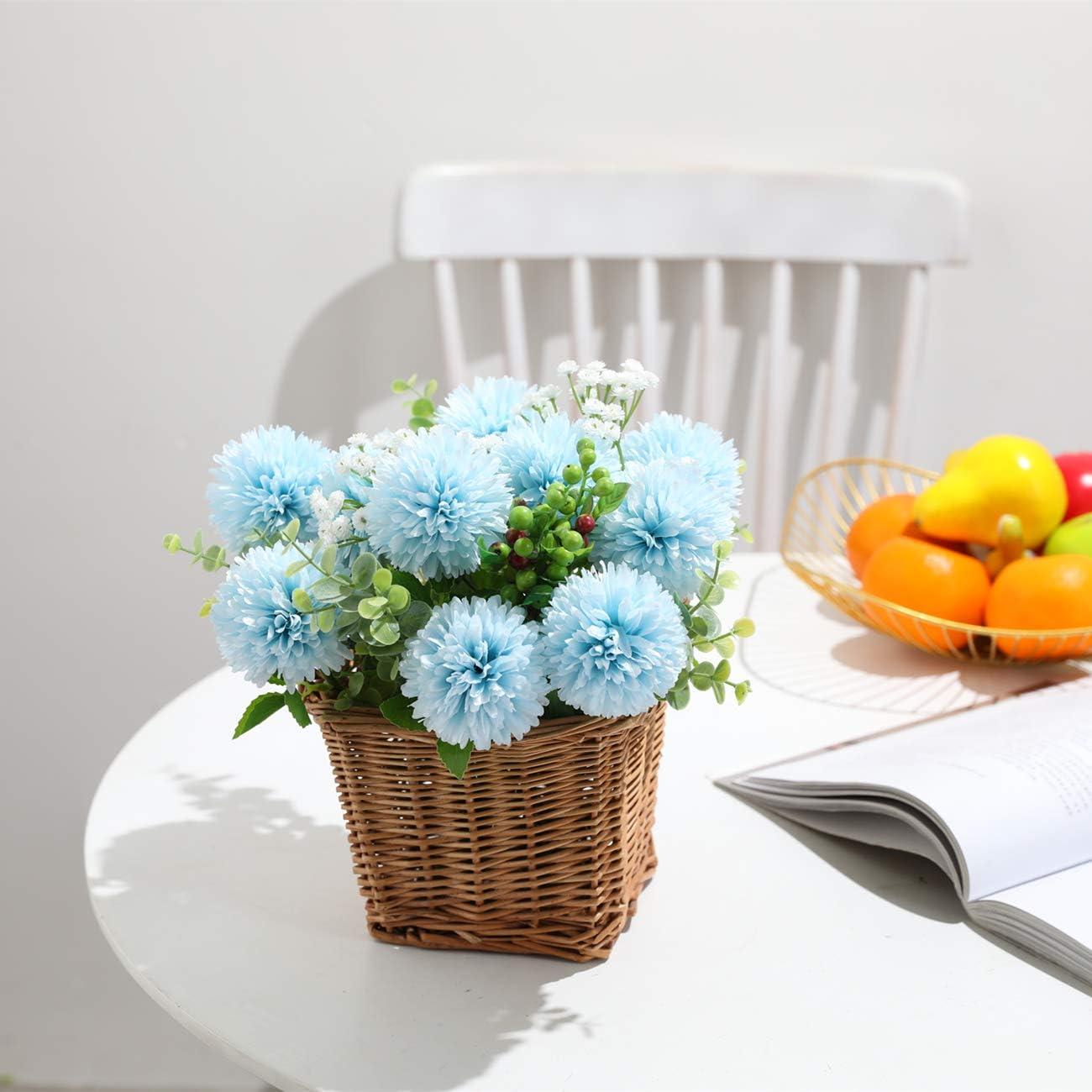 6 Pcs Soie Chrysanth/ème Petite Boule De Fleurs pour La Maison Garden Party Office D/écoration Bleu Tifuly Artificielles Hortensia Fleurs Centres Arrangement Bouquets De Mariage De Mari/ée