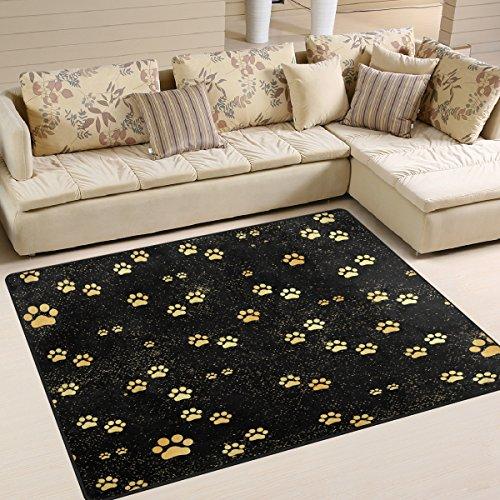 ALAZA Gold Animal Paw Print Black Area Rug Rugs for Living Room Bedroom 7' x 5' (Paw Rug Print)