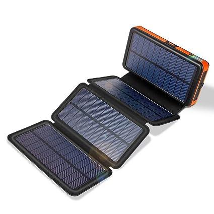 Amazon.com: Cargador solar de 20000 mAh con salidas duales ...