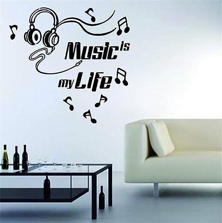 haotong11 Citar Arte Tatuajes de Pared Auriculares música es mi ...