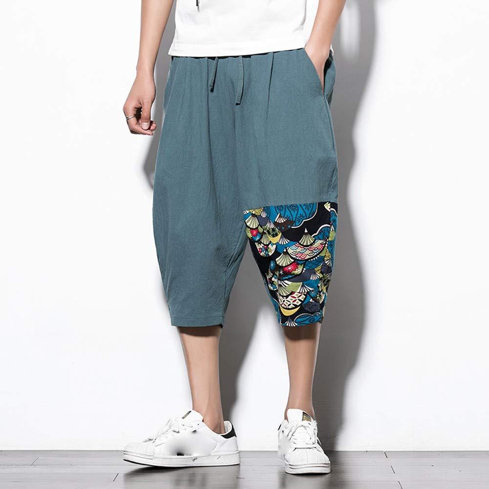 d45b25715d18e6 Amazon.com: AMSKY Pants for Men Gym,Men's Casual Slim Sports Pants Calf- Length Linen Trousers Baggy Harem Pants: Clothing