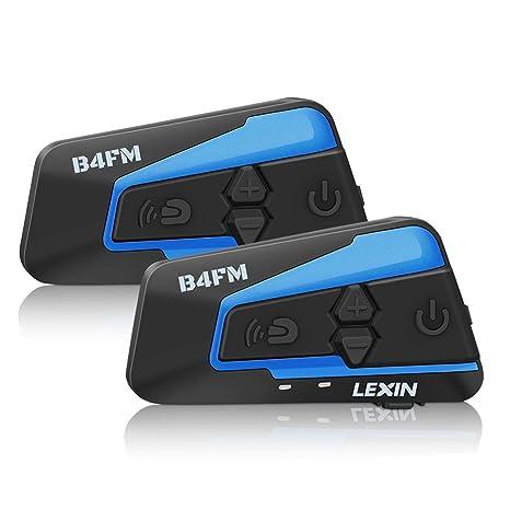 LEXIN B4FM intercomunicador Casco Moto, intercomunicadores Moto Bluetooth con FM, Manos Libre Moto intercomunicador