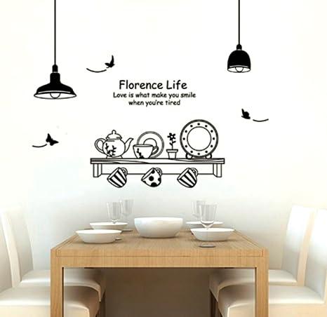 Adesivo per decorazione pareti 60x90 cm, MENSOLA CUCINA: Amazon.it ...