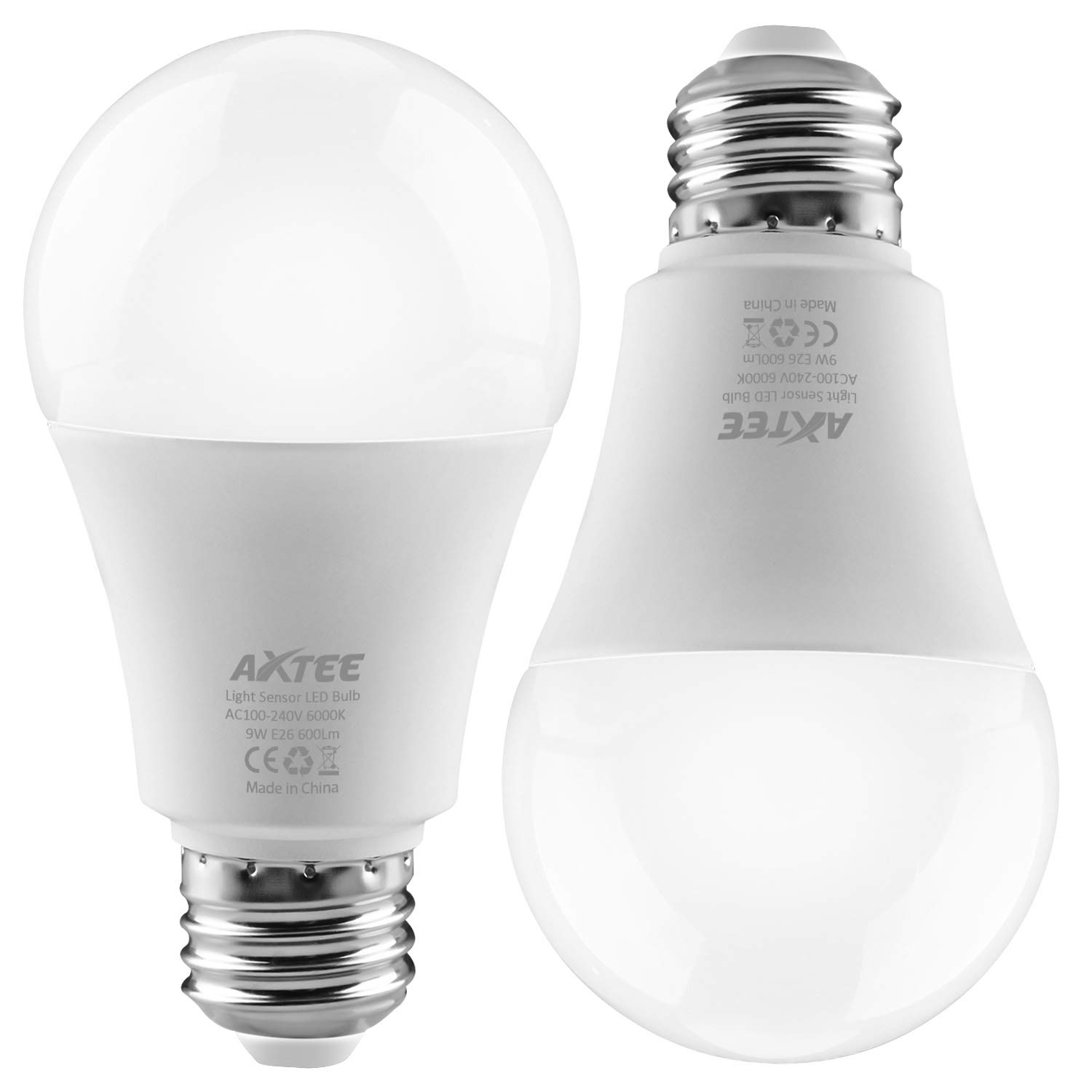 Smart Light Bulb Dusk to Dawn Sensor Led Light Bulbs Indoor/Outdoor E26 Base Socket Auto On/Off Lighting Lamp 9W (6000K, 2 Pack)
