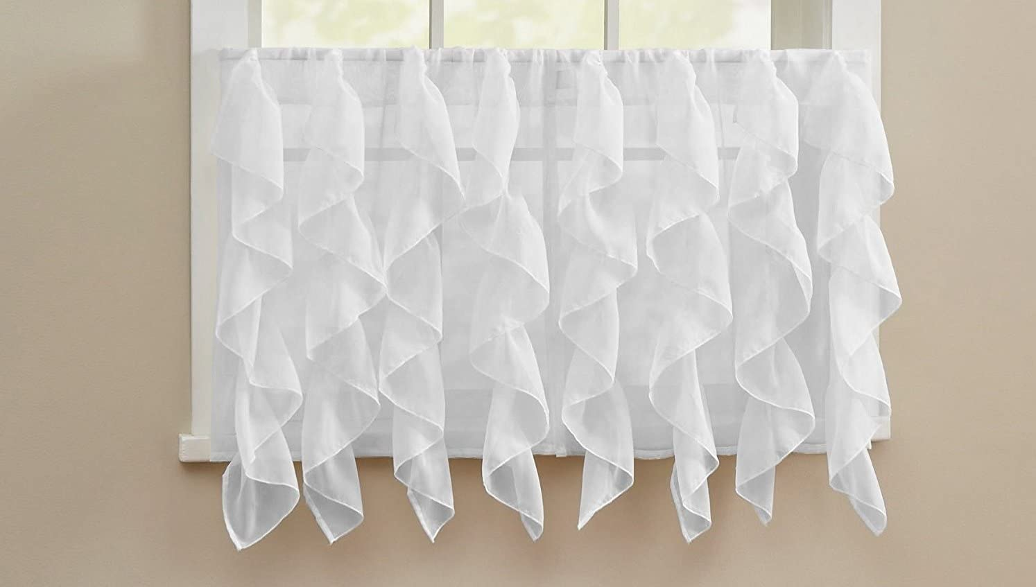 Ben Jonah White Traditional Elegance by Ben Jonah Cascading Waterfall Ruffled Sheer Voile Kitchen Curtain Tier Pair 52 x 36