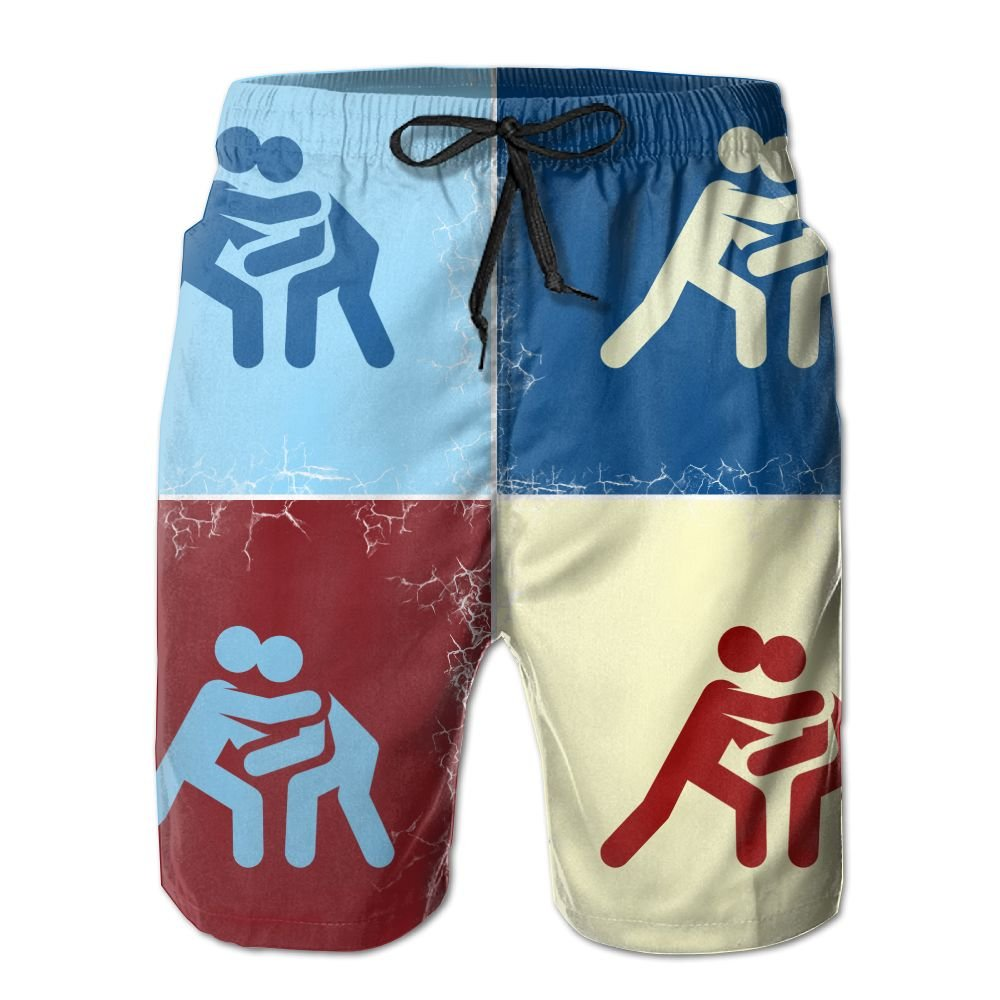 Funny Catch Wrestling Pop Art Men's Quick Dry Beach Board Shorts Swim Trunk XL
