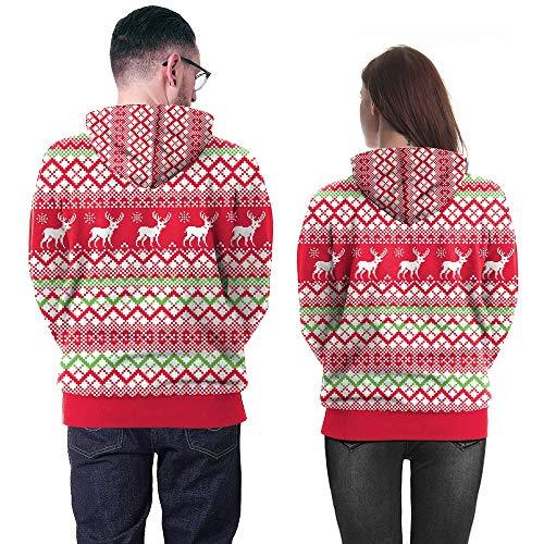 Di Rovinci Con Festa Snowflake Stampa Unisex Donne Hoodie Sweatshirt 3d Print Pullover Alci Felpa Christmas Tasca Cappuccio Coulisse Maglione Cervi Uomini Rosso 0wr0xXPv