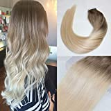 BeautyMiss 18″ Tape in Hair Extensions Remy Hair Extensions Balayage Ombre Hair Extensions Color #8 Ash Brown Fading to # 613 Full Head 20pcs/50g Review