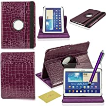 Fulland Colorful 360 Rotating Flip Leather Case Cover for Samsung Galaxy Tab3 10.1 P5200 with Smart Auto Wake/Sleep Function plus Stylus Touch Screen Pen and Screen Protector-crocodile Purple
