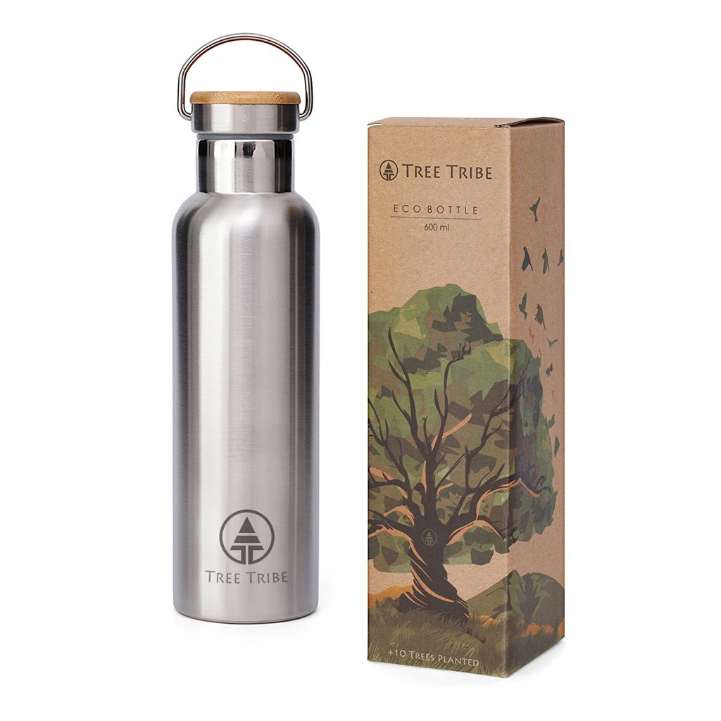 Tree Tribe Stainless Steel Water Bottle 20 oz - Indestructible, BPA Free, 100% Leak Proof, Eco Friendly, Double Wall Insulated Technology for Hot and Cold Drinks, Wide Mouth, Bamboo Cap