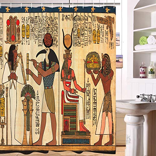 BLEUM CADE Ancient Egypt Shower Curtain Mythology Egyptian Gods Pharaohs Hieroglyphic Carvings Bathroom Curtains Bathroom Decor Accessories with Hooks
