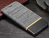CaseteK Cloth + Pu Leather Slim Flip Wallet Case Stand with Card Holder Denim Cover for Samsung Galaxy A9 Pro - Grey & Black