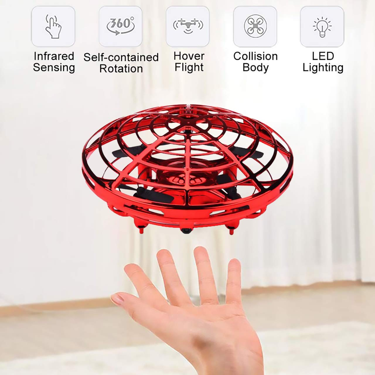 MuD-A Flying Ball Toy Drones,Hand Operated Drones for Kids or Adults - Scoot Flying Ball Drone,with 360°Rotating and Flashing LED Lights Mini Drone,for Boys and Girls, Kids Gifts (Red) by MuD-A (Image #2)