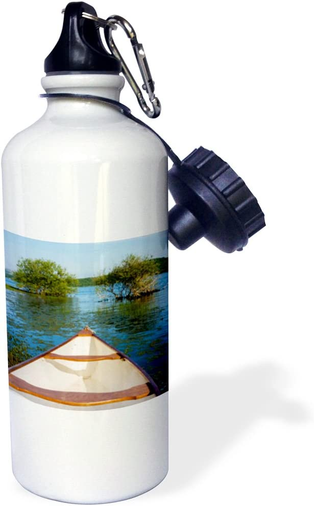Multicolor wb/_187030/_1 21 oz 21oz 3dRose White Canoe in a Lake-Sports Water Bottle