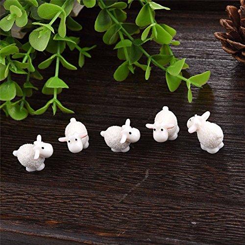 Miniature Garden Decor - 5 Pieces Kawaii Mini Sheep Animals Home Micro Fairy Garden Figurines Miniatures Home Garden Decor DIY Accessories - Miniature Fairy Garden Decor from Unknown