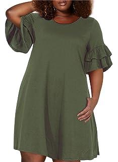 5bc3899c6fcd0 Nemidor Women s Ruffle Sleeve Jersey Knit Plus Size Casual Swing Dress with  Pocket