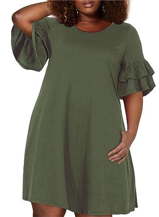4c91b32453a Nemidor Women s Ruffle Sleeve Jersey Knit Plus Size Casual Swing Dress with  Pocket (Army Green