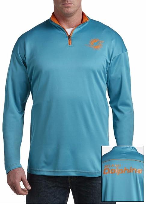 Amazon.com   Majestic Miami Dolphins NFL Mens 2 Sided 1 4 Zip Fleece ... 52f5ea656