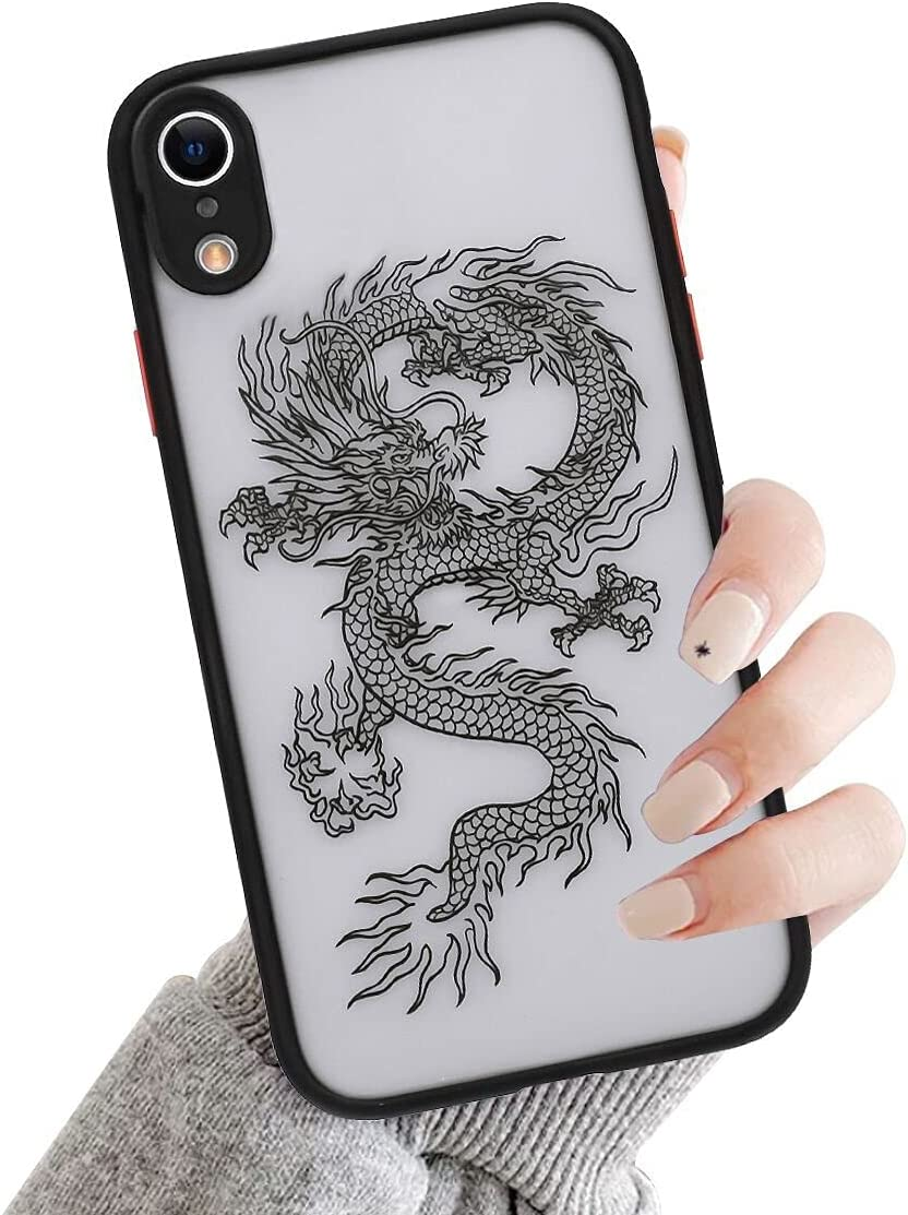 Ownest Compatible with iPhone XR Case for Clear Fashion Animal Dragon Cartoon Pattern Frosted PC Back 3D and Soft TPU Bumper Protective Silicone Shockproof Protective Case for iPhone XR-Black