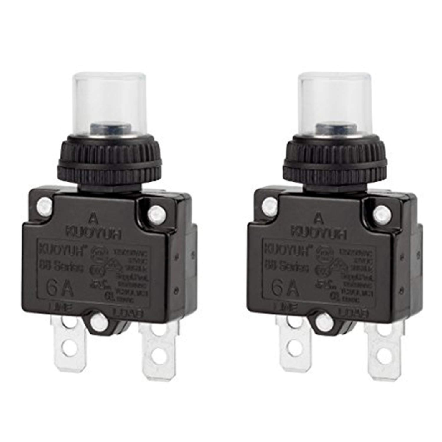 Circuit Breaker,DIYhz Thermal Overload Circuit Breaker 88 Series 6A 32V DC 125/250VAC 50/60Hz Push Button Circuit Breaker Reset Boot Switch and Waterproof Button Transparent Cap 2 Pcs