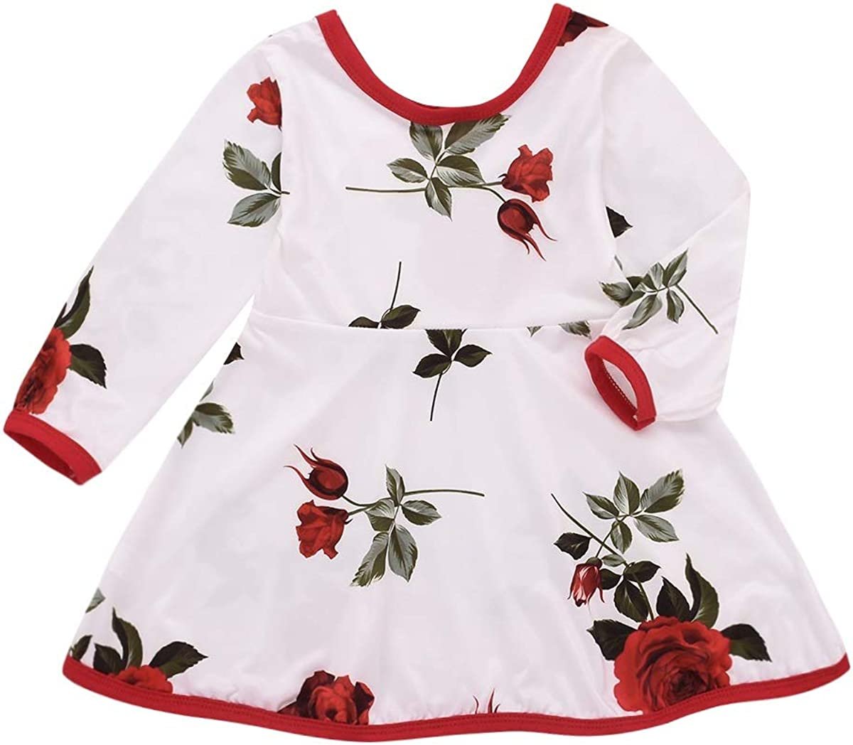 Borlai Kids Baby Girl Dress Rose Printed Skirt Toddler Casual Party Dress Outfit