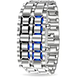 Bling Jewelry Mens Stainless Steel Back Faceless Lava Blue Watch Alloy