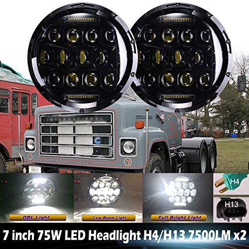 7 Inch LED Round Headlight High Low Double Beam DRL 6000K Cool White for International Harvester 4200 4300 4400 - 2 Pcs