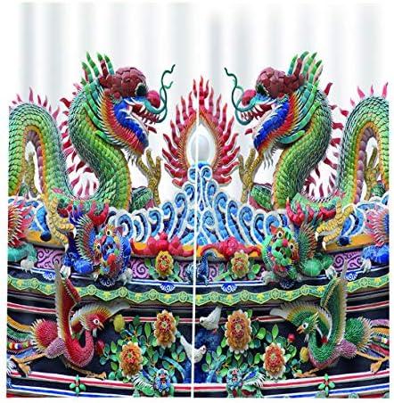 QinKingstore 中国神話ドラゴンとフェニックスカーテン3D PPrintブラックアウト用ウィンドウリビングルーム寝具ルームホテルオフィス170 * 200cm