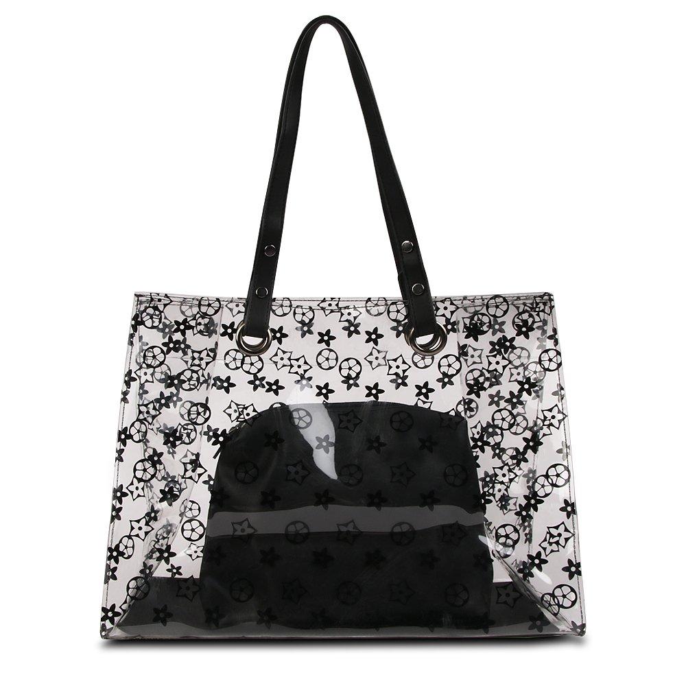 Olyphy Set of Large Clear Tote Handbag, Transparent Pvc Ladies Top Handle Handbag for Women Shoulder Bag with Flower (black)