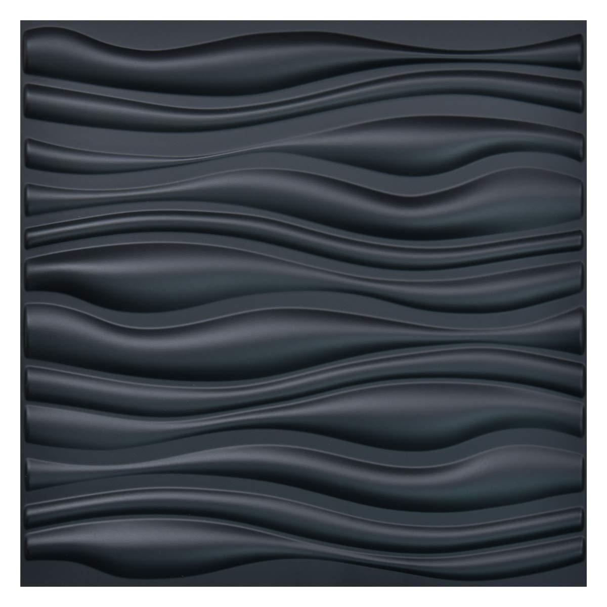 Art3d Paneles de pared 3D texturizados de PVC paquete de 12 color blanco 50 x 50 cm