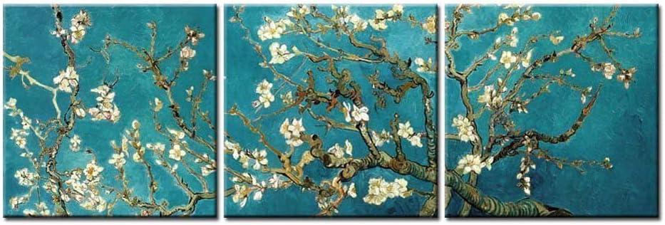 Cuadro en lienzo Imagen de arte de pared Ramas de pintura de Vincent Van Gogh de un almendro en flor para decoración del hogar Obra de arte 30x30cm (11.8x11.8 pulgadas) x3 Con marco