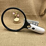 Magnifying Glass with Lights 4 LED Oversized 5.5 Inches Magnifier Glass, 2X + 30X Double Optical Lens Handheld Magnifier Glass for Seniors Reading, Maps,Collection,Jewelry Hobbies