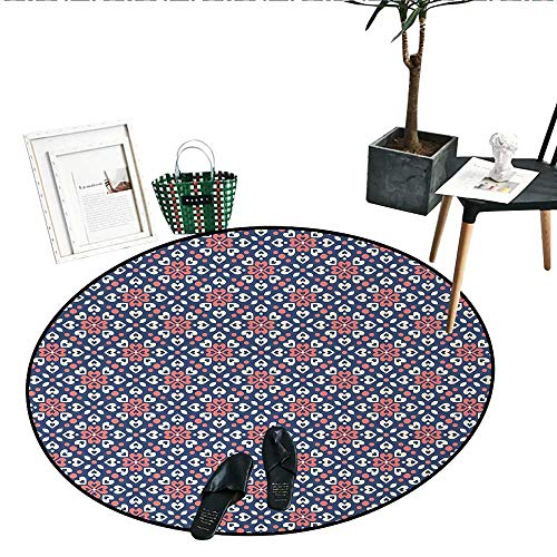 Abstract Round Area Rug Floral Hearts Forming Old Fashioned Mosaic Tiles Shabby Chic Pattern Circle Rugs for Living Room (47