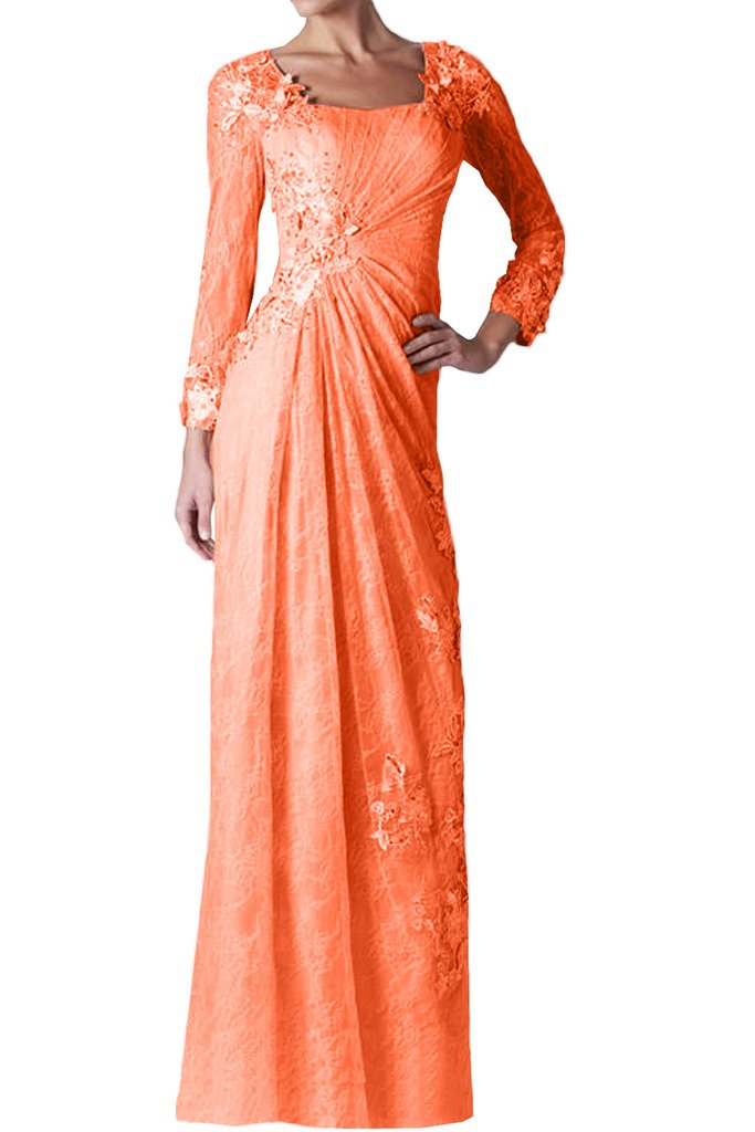 (ウィーン ブライド)Vienna Bride 披露宴用母親ドレス ロングドレス 演奏会 発表会 結婚式 母親用ドレス ママドレス 長袖 全12色 コンサート B01IP4X0Z4 23W|オレンジ オレンジ 23W