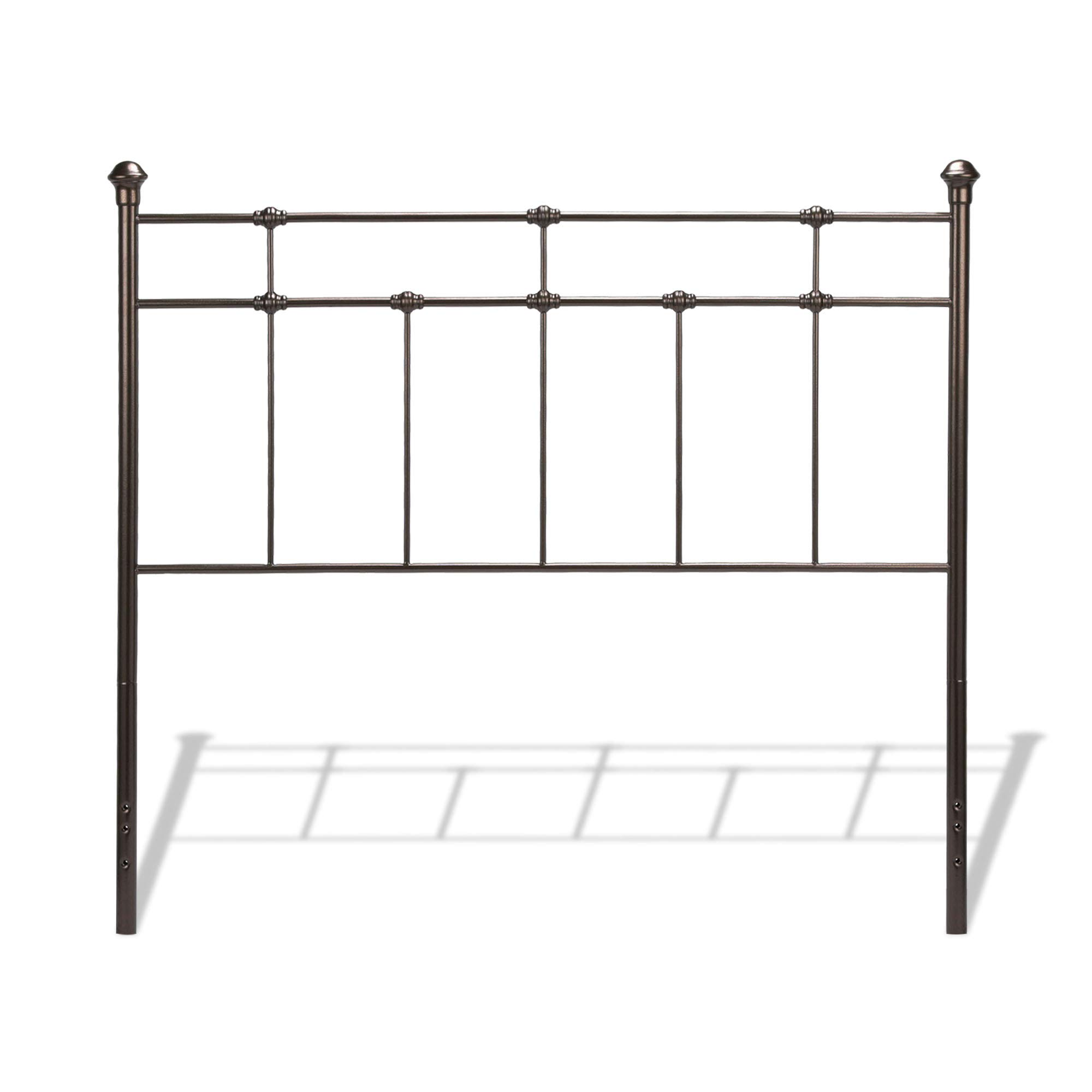 Leggett & Platt Dexter Metal Headboard Panel with Decorative Castings and Finial Posts, Hammered Brown Finish, King