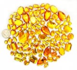 LOVEKITTY TM 100 pc lot - Sew-On Gems - Yellow/Gold Mixed Shapes Flat Back Gems (Mixed Sizes has thread holes)