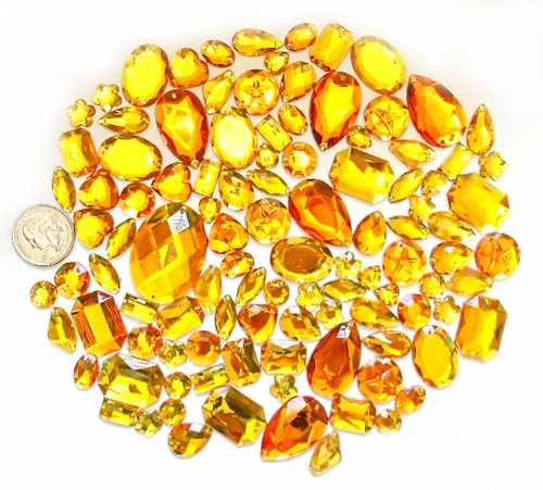 LOVEKITTY TM 100 pc lot - Sew-On Gems - Yellow/Gold Mixed Shapes Flat Back Gems (Mixed Sizes has thread holes) by lovekitty