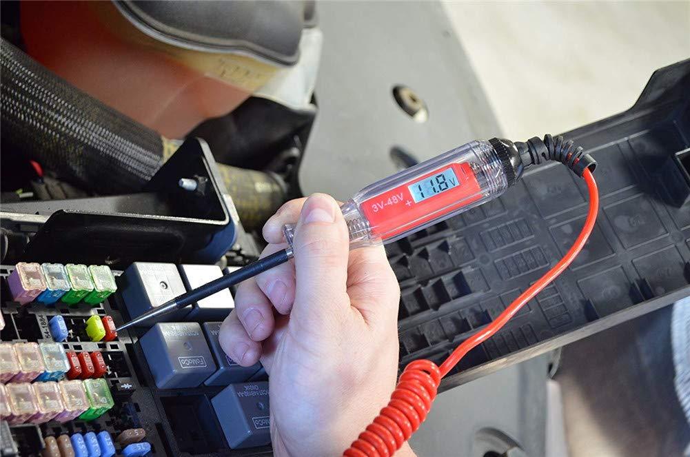 Semine 3V-48V Num/érique Circuit /Électrique Testeur LCD De Voiture Camion Tension De Puissance Sonde Tension Test De Diagnostic Outil De Remorque Lumi/ère RV D/étecteur De Motoneige