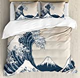 Wave Queen Size Duvet Cover Set by Lunarable, Oriental Culture Hand Drawn Asian Style Japanese Motifs Illustration Great Wave, Decorative 3 Piece Bedding Set with 2 Pillow Shams, Blue Grey Beige
