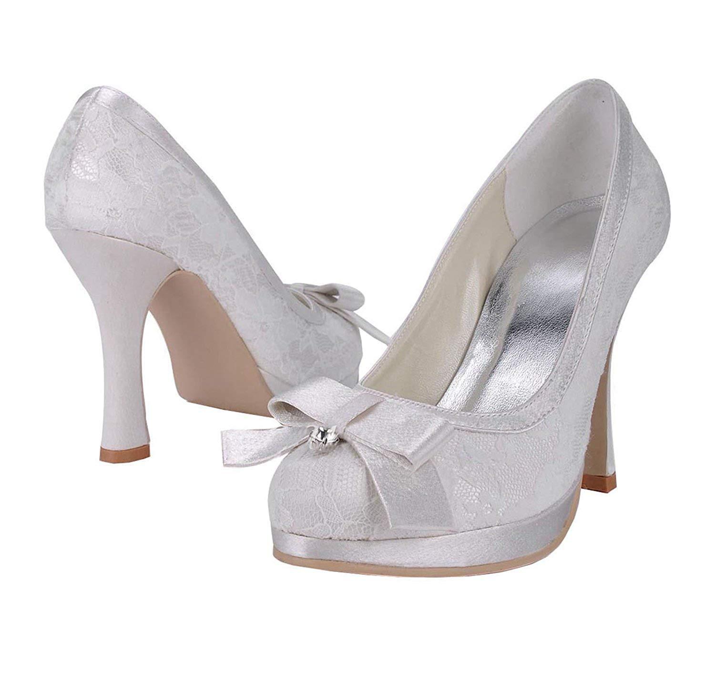 ZHRUI femmes MZ567 Bout Rond Talon Aiguille Blanche Dentelle mariée Weddiing Plate-Forme Chaussures Pompe UK 4 (Couleuré   -, Taille   -)