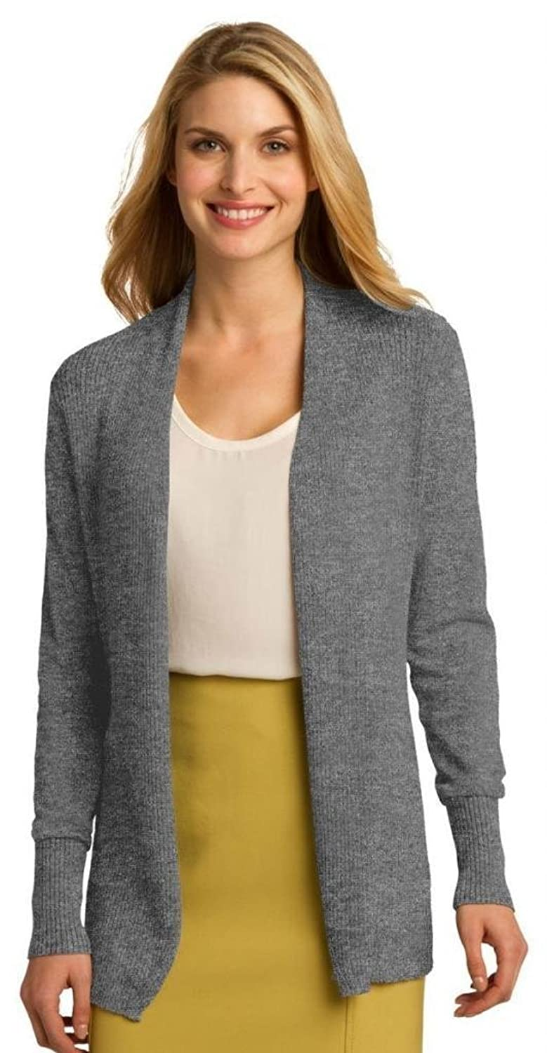 Port Authority Women's Open Front Cardigan - Medium Heather Grey LSW289 2XL