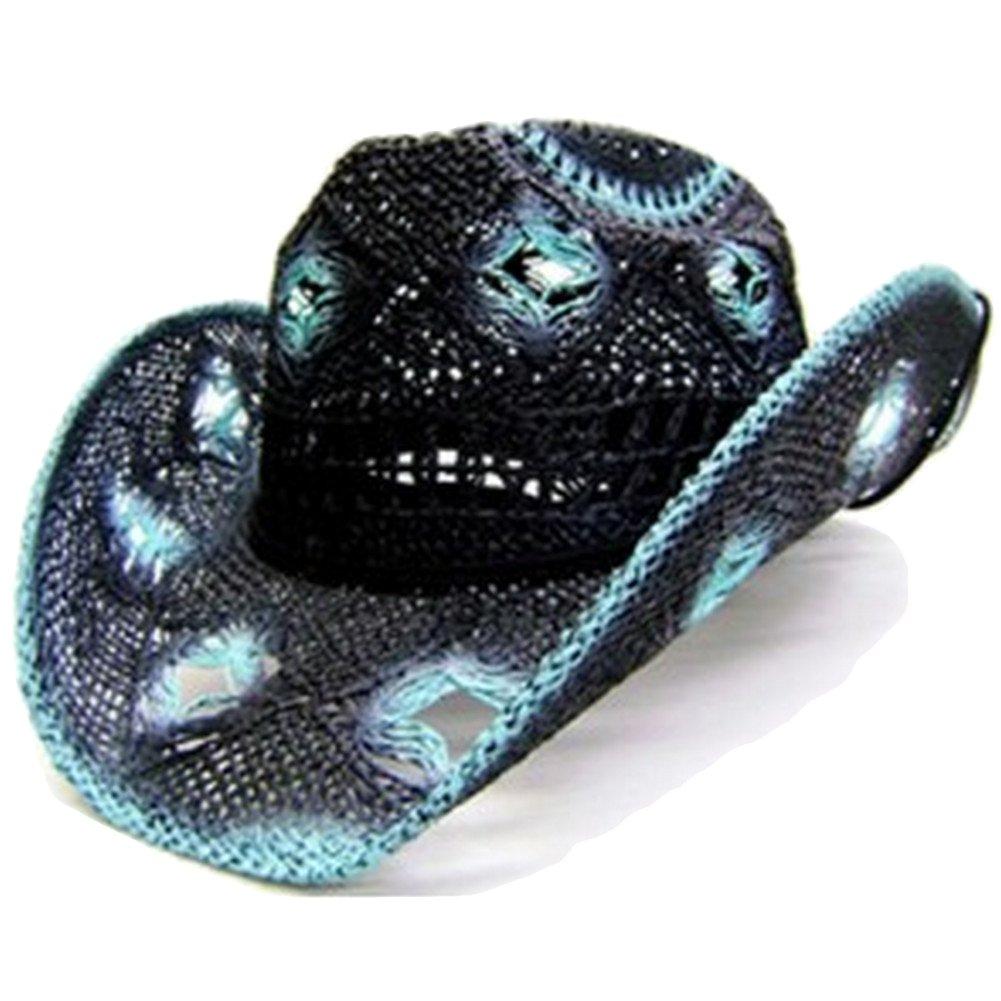 Modestone Women's Straw Cowboy Hat Black Seafoam 5275