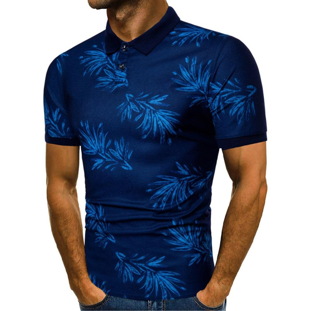 Men's Fashion Casual Personality Design Dry Fit Creative Leaves Pattern Printed Short Sleeve Polo Shirts