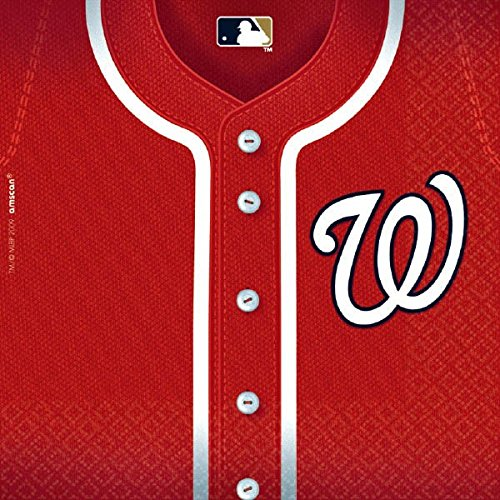 Sports and Tailgating MLB Party Washington Nationals Luncheon Napkins Tableware, Paper, 6'' x 6'', Pack of 36 by Amscan