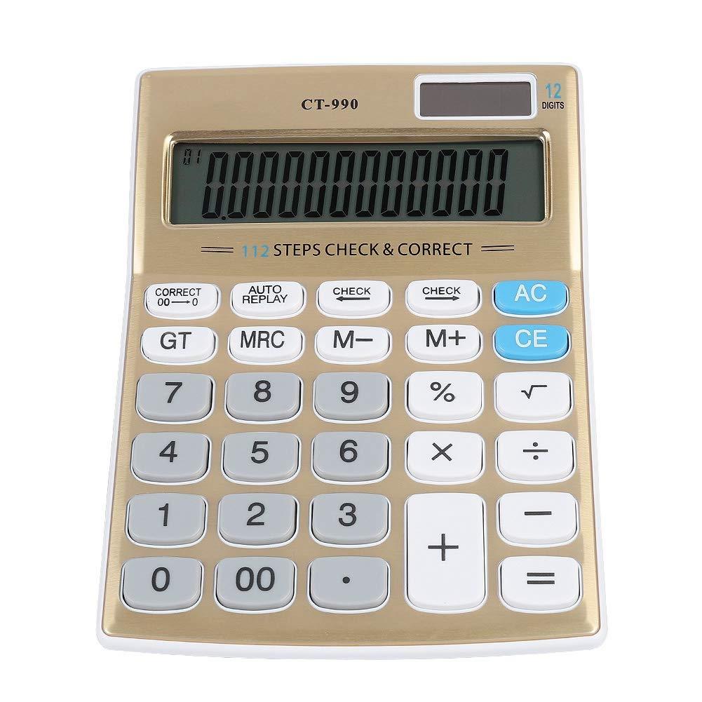 ASHATA Calcolatrice, Calcolatrice da Tavolo Standard a 12 Bit Calcolatrice da Ufficio con Display LCD, Calcolatrice a Doppia Alimentazione a Energia Solare EA Batteria