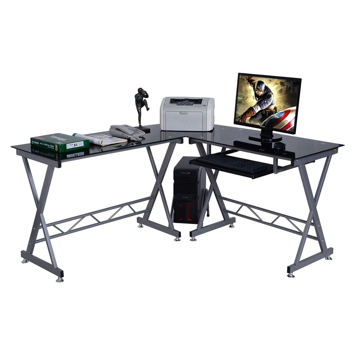 L-Shape Computer Desk with Glass Top