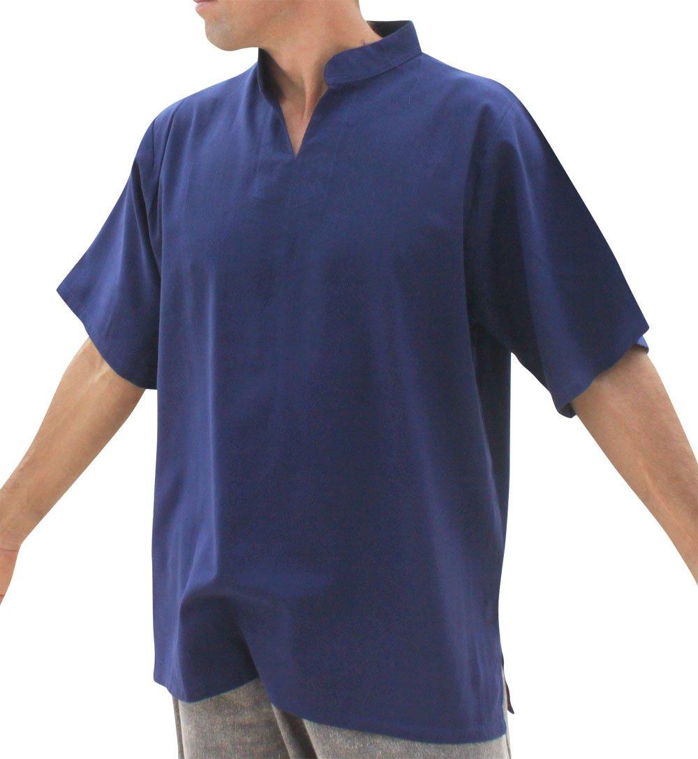 Raan Pah Muang RaanPahMuang Brand Light Summer 100% Cotton Plain Chinese Collar Shirt, X-Large, Dark Navy Blue