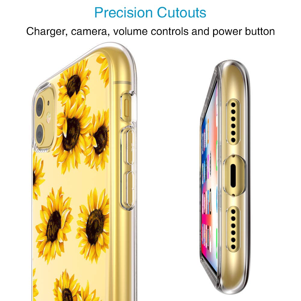 AILRINNI for iPhone 11 case - Soft Clear Slim Silicone Phone Case, Premium Gel Shockproof Bumper Protective Case Cover for Apple iPhone 11 2019 (6.1 Inch) - Sunflower
