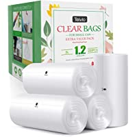 1.2 Gallon 220 Counts Strong Trash Bags Garbage Bags, Bathroom Trash Can Bin Liners, Small Plastic Bags for home office kitchen, fit 5-6 Liter, 0.8-1.6 and 1-1.5 Gal, Clear