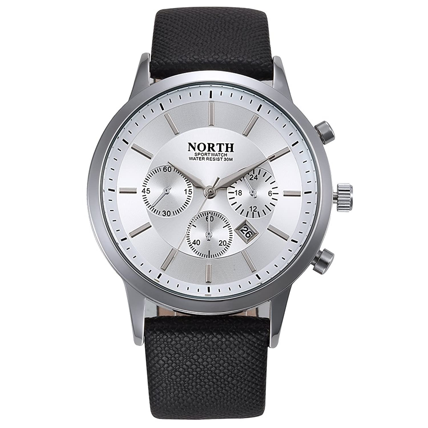 North Mens Fashion Waterproof Quartz Watches With Leather Strap Date Display Analog Sport Wrist Business Watch For Men by North